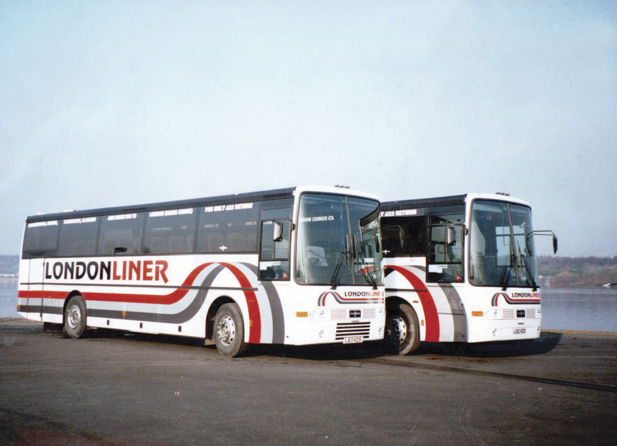Two Volvo B10M Van Hool Alizee T8s used on the LondonLiner service