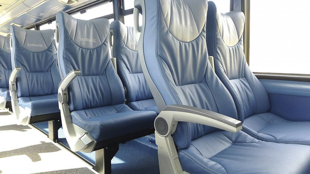Arriva opted for E-Leather 2+1 Esteban Egge seating on the upper deck of Sapphire Wrightbus Geminis in North Wales