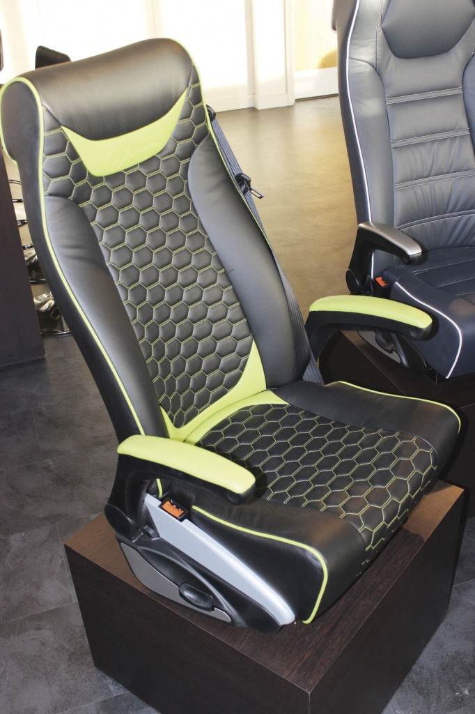 Displayed at the NEC was this Politecnica recliner trimmed in E-Leather with multi needle geometric stitching