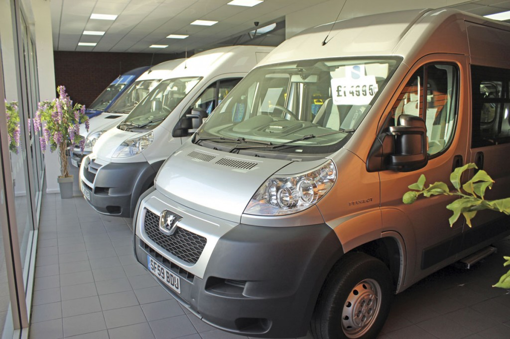 Minicoaches in the main showroom with a Peugeot Boxer MWB to the fore. It had only covered 48,000miles