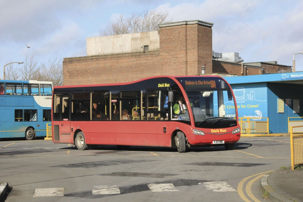 One of Crewe's Optare Solo SR M970s in the standard red livery