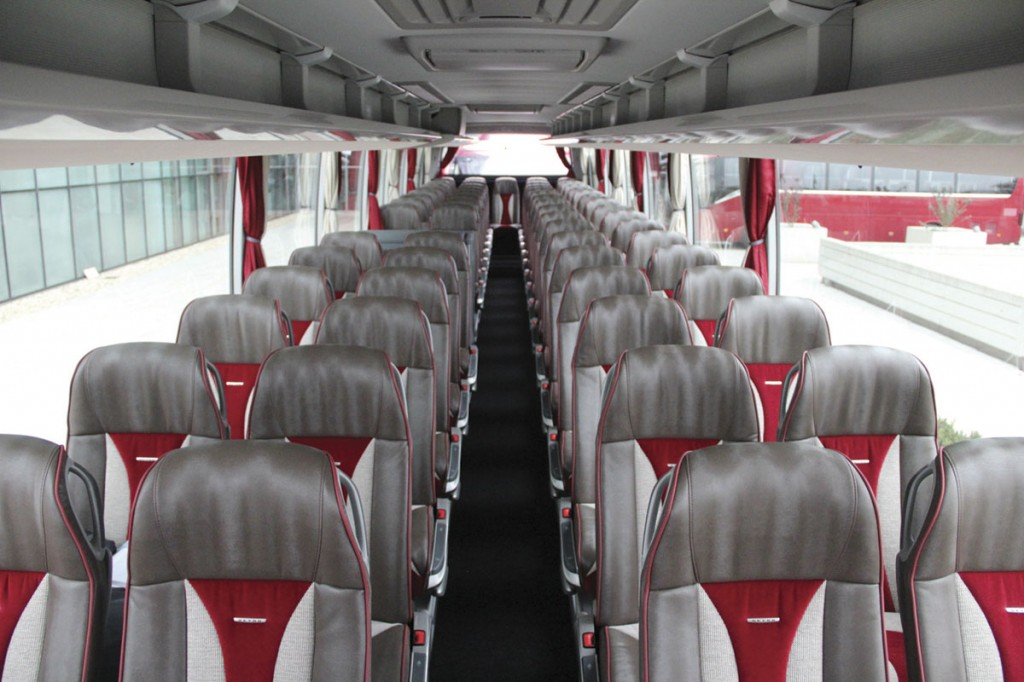Our evaluation ComfortClass S519HD accommodated 65 Setra Voyage Plus seats