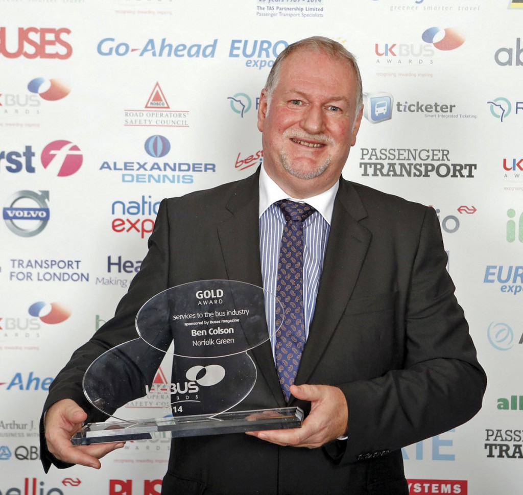Outstanding services to the industry at the UK Bus Awards, Ben Colson