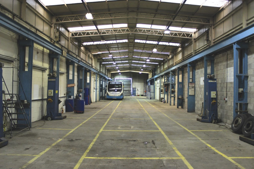 The interior of the Longton depot. The Streetlite is one of those acquired from BakerBus