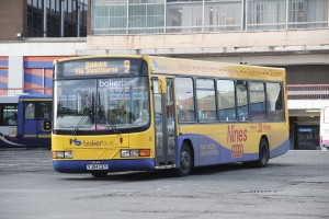 The oldest bus acquired from BakerBus is this Wright Cadet bodied DAF SB120 seen a few years ago in the yellow and blue colours it still carries in the old Hanley Bus Station