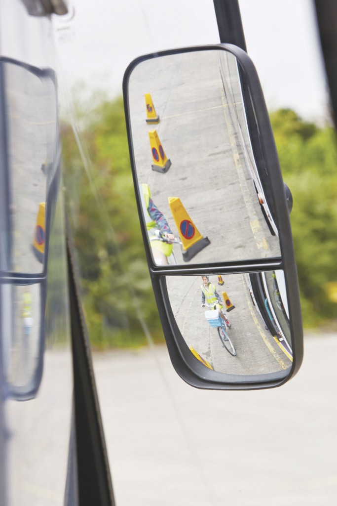 This is the view from a Cyclesafe mirror, with the girl still in the same position as the first image. No longer is she in the blind spot.