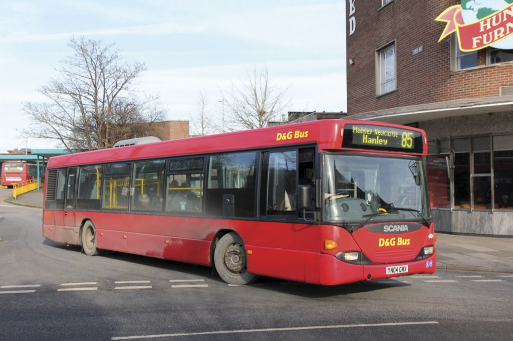 With the exception of a solitary double decker, the largest buses operated by D&G Bus are three Scania OmniCity CN94UB buses allocated to Crewe