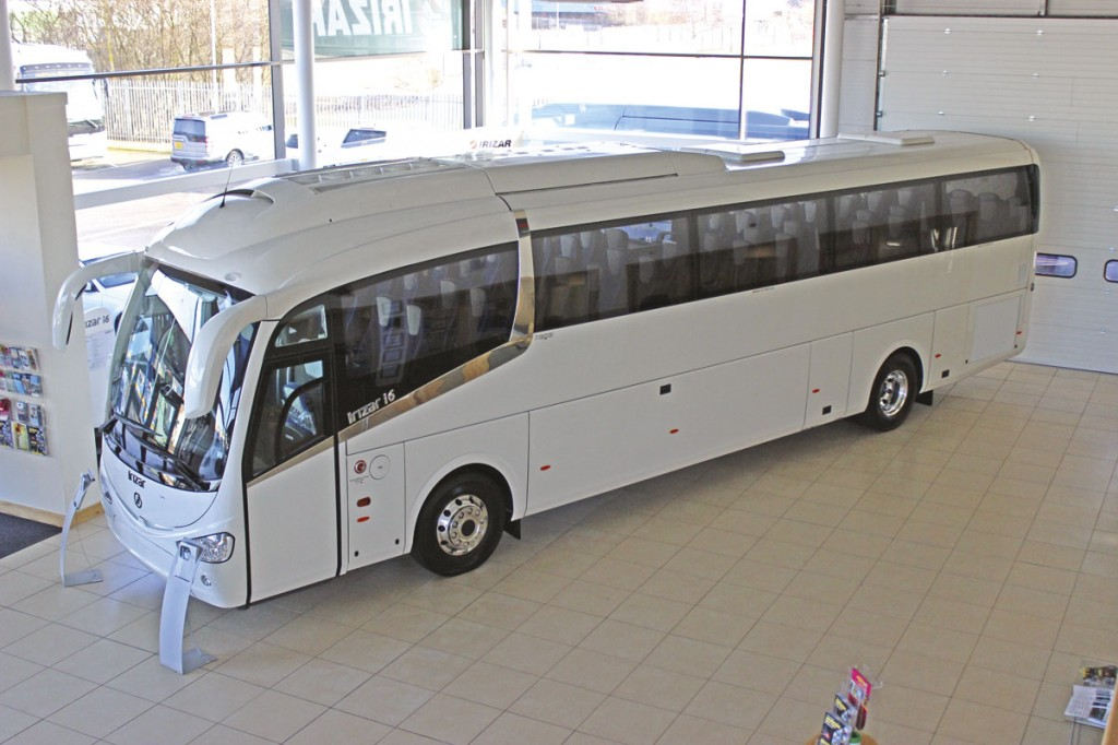 Seen displayed in the showroom at Irizar UK's Worksop premises is an i6 destined for Cavendish Coaches