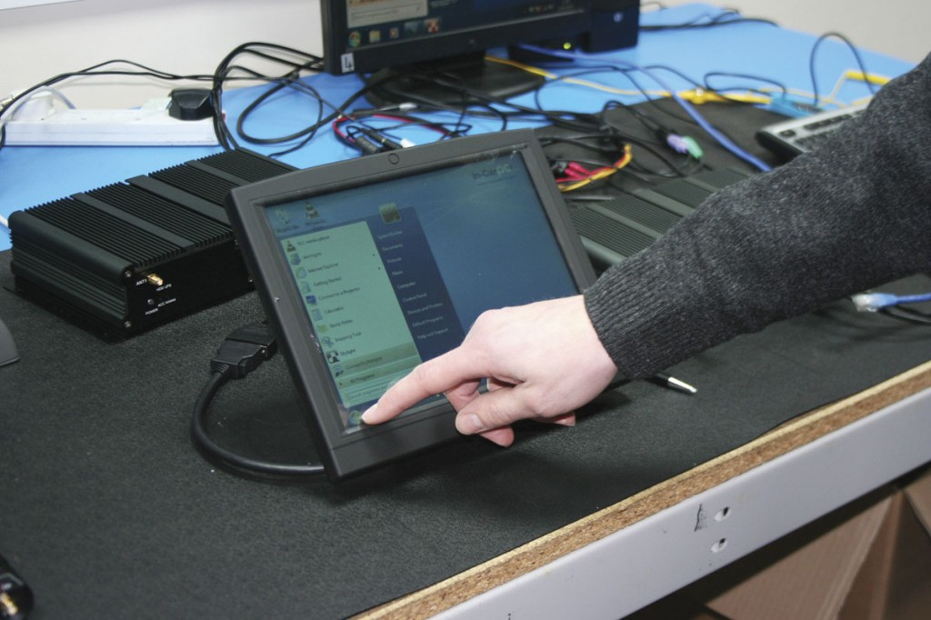 The company's in-vehicle PCs can be controlled by a touch screen