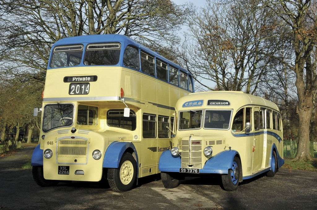 A Bristol Lodekka and Bedford OB, part of the company's Heritage Fleet