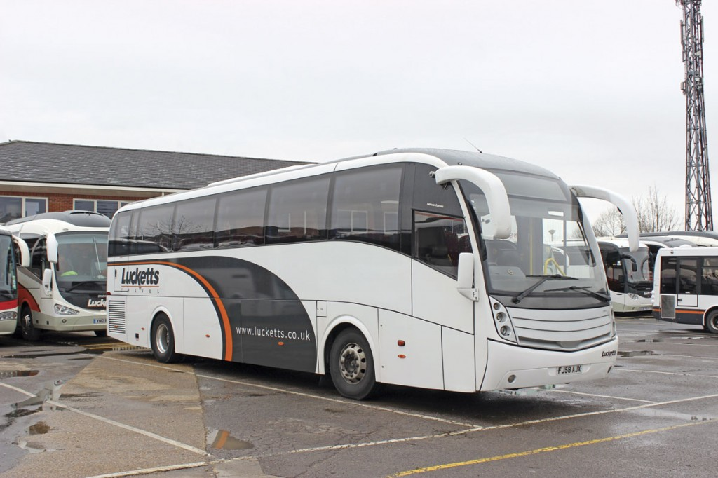 A Scania Caetano Levante formerly used on National Express work that has been repainted for use in the main Lucketts private hire fleet