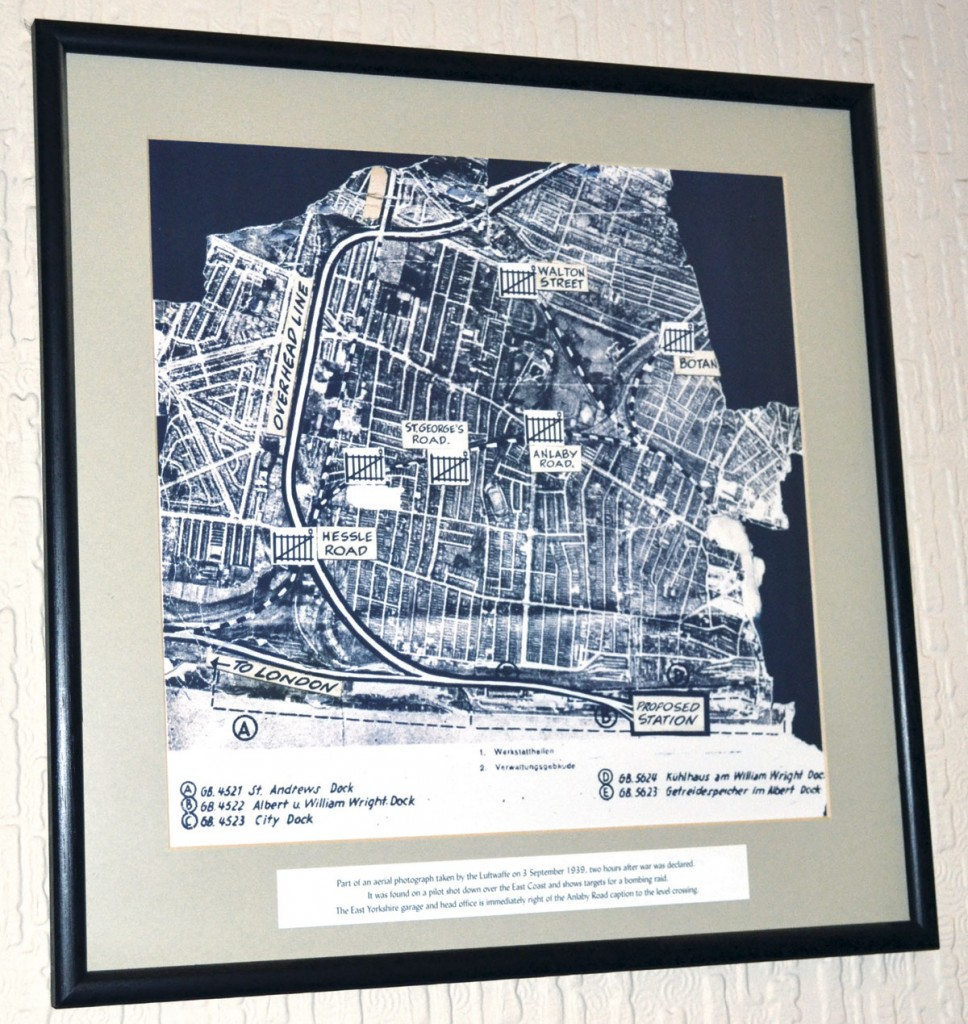 A map of Hull that was found in a WW11 German Bomber's possessions that now hangs outside Peter's office. It was taken two hours after War was declared