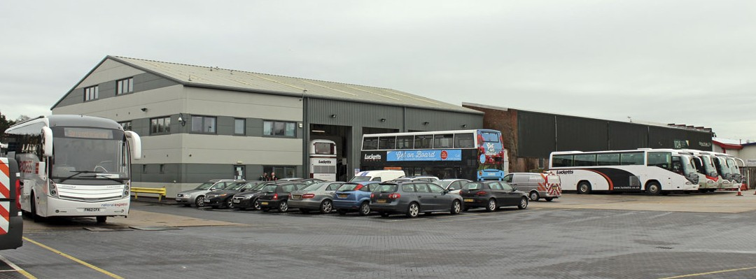 A view across the Fareham yard showing the side of the offices and beyond them the workshops