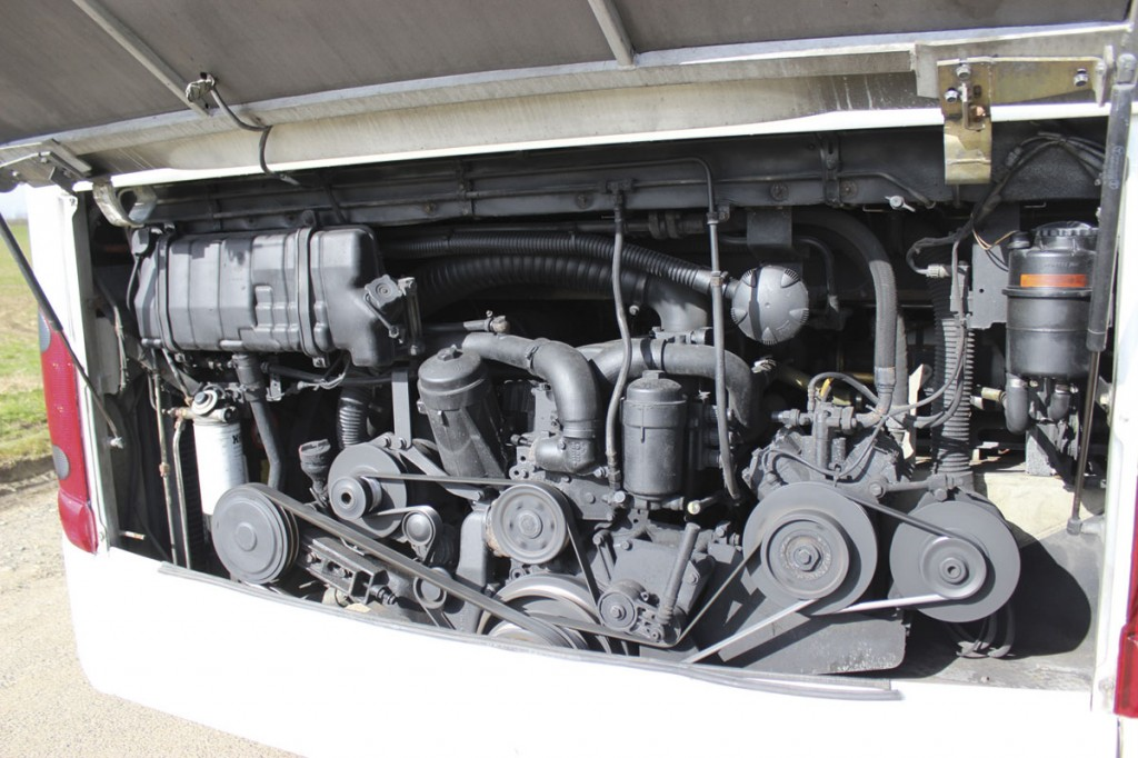 Installed at the rear is a Euro4 standard Daimler OM457LA six cylinder in-line engine coupled to a ZF AS-Tronic 12-speed automated manual transmission