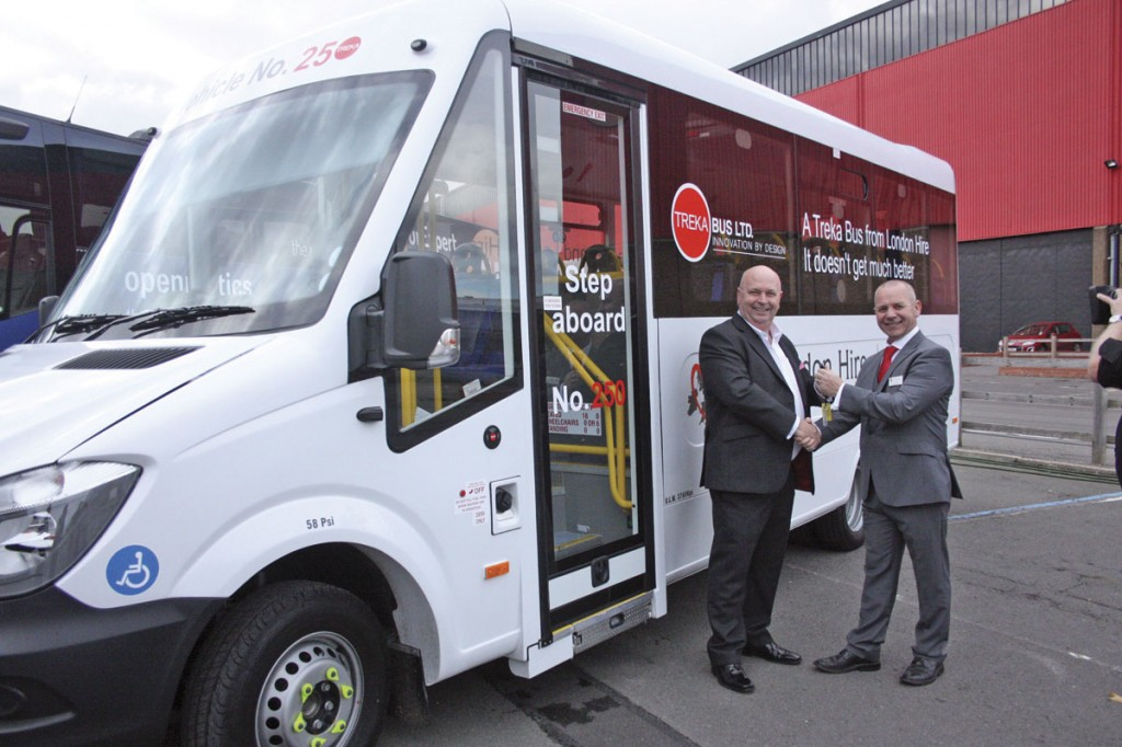 Mark Clissett, Chairman of Treka Bus hands over the keys to the 250th Treka 16 they have built for Peter Moxom of London Hire
