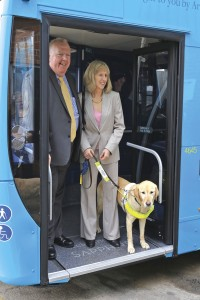 Michael Morton with Andrea Gordon of Guide Dogs Cymru and her dog