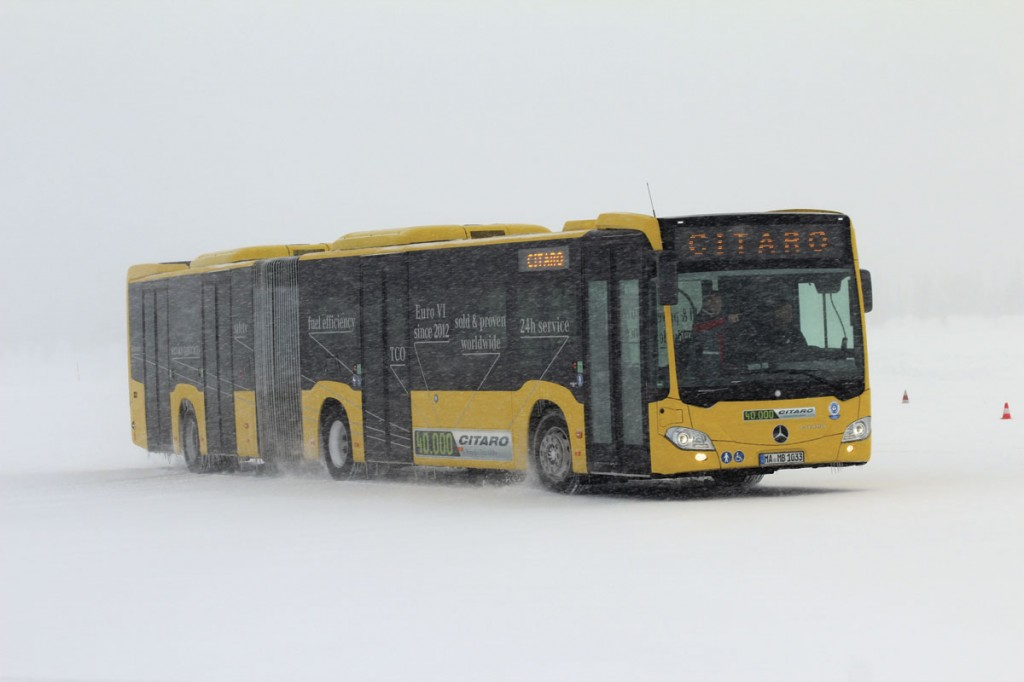 One of two 18.125m Citaros, being tested, particularly with regard to the new ATC Articulated Turntable Controller system which provides the equivalent of an ESP system for articulated buses