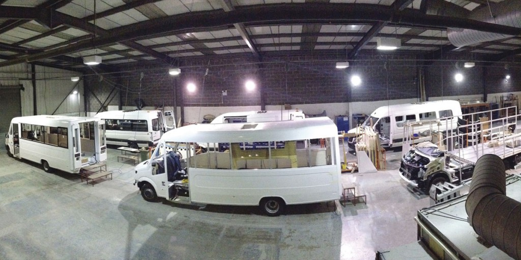 Some idea of the production area can be gauged from this shot. This area is now totally devoted to coachbuilt Treka production in the form of a U shape. Van conversion Trekas are built in a separate area