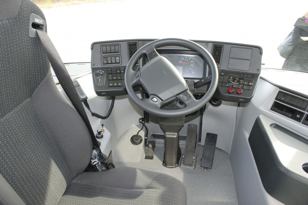 The central driving position and controls. Note the swivel seat