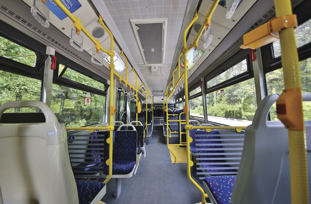 The interior of the e-bus