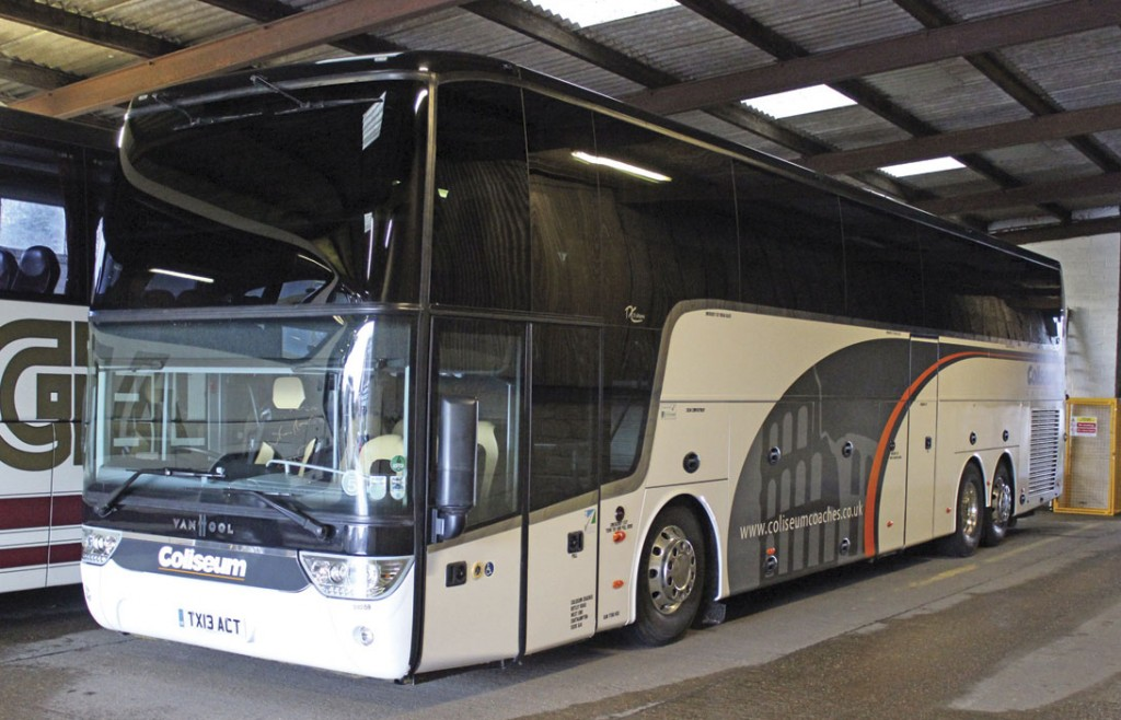 The latest coach to join the Coliseum Coaches fleet is this Van Hool TX21 Altano 59 seater. It was new in March 2013 and acquired in December 2014
