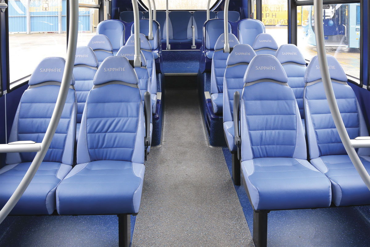 The low floor area in the lower deck features E-leather trimmed high back seats with headrests