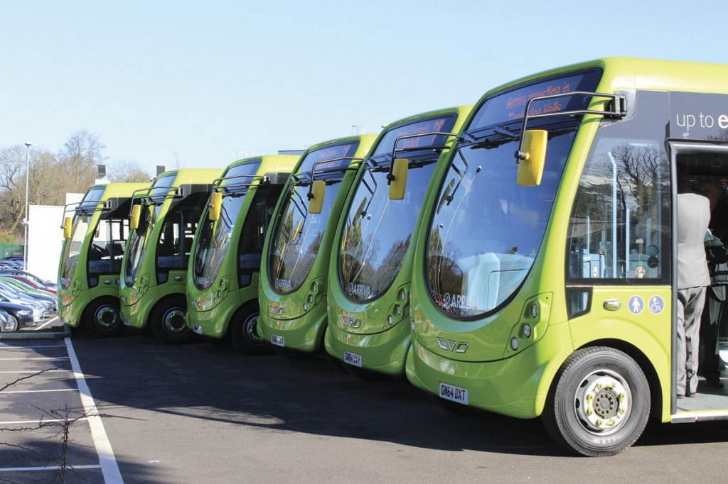 The six Wrightbus StreetLites lined up at the launch