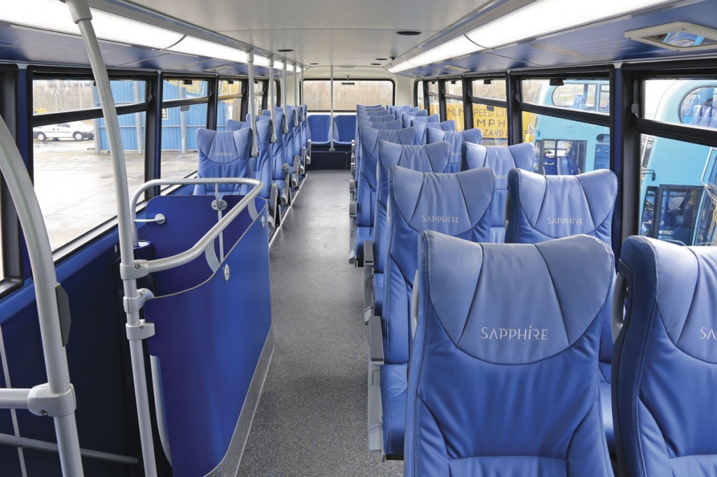 Two plus one format E-leather trimmed coach seating is featured on the upper deck of the Enviro400s