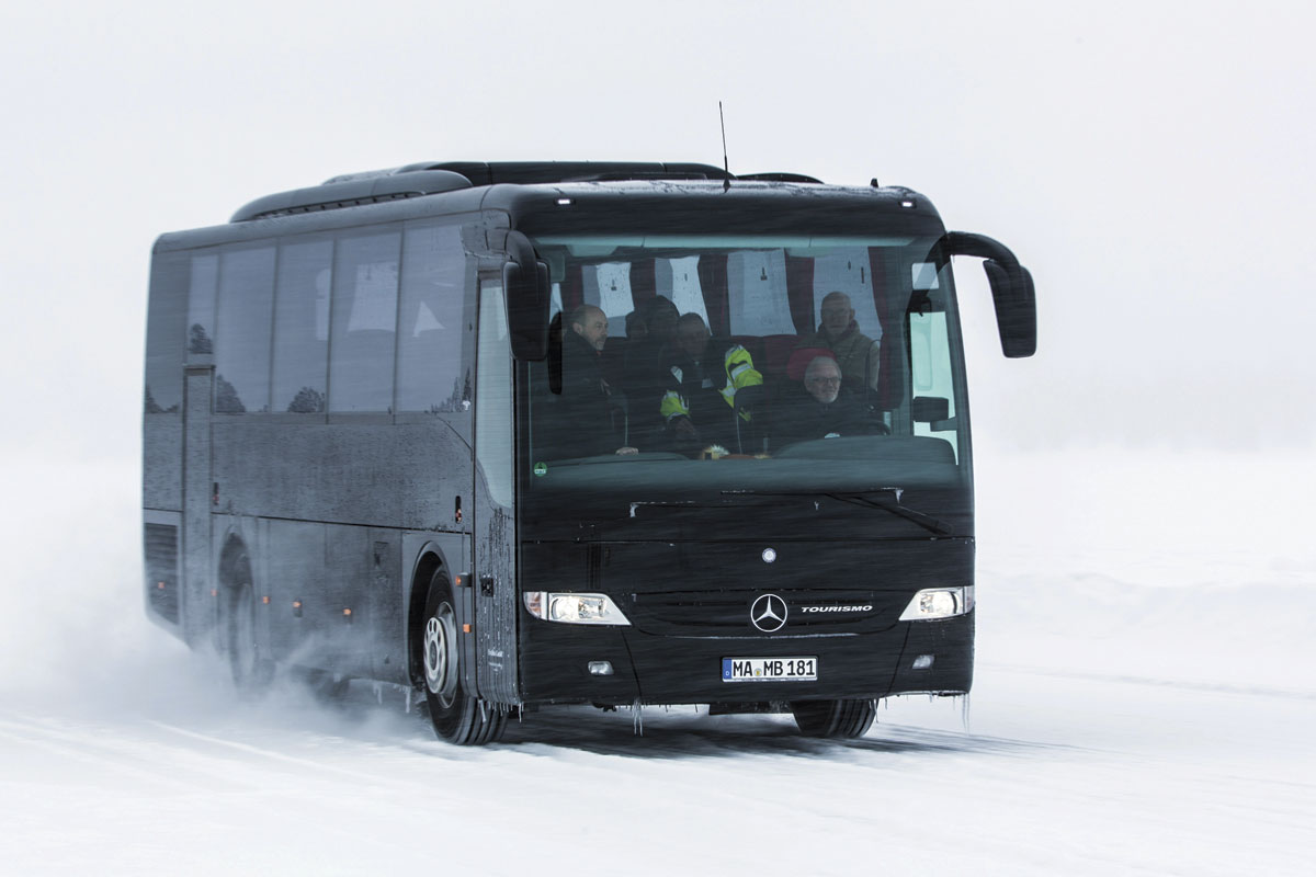 One of the coaches under test was the lower height shorter length Tourismo K model with rear emergency door