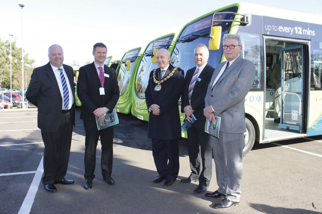 Arriva Southern Counties Service Delivery Director, Brian Drury; Matthew Tompkins, Vice Principal of The Skinners' Kent Academy; Mayor of Tunbridge Wells, Councillor Julian Stanyer; Arriva Commercial Director, Kevin Hawkins; and Matthew Balfour, Cabinet Member for Environment & Transport at Kent County Council
