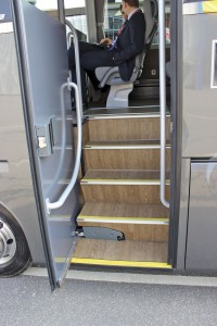 A Tamware powered pivot door is fitted in conjunction with an entrance behind the front wheels. Hand rail provision is good