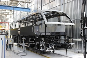 A cataphoretically coated Cityliner frame undergoing panelling. The Cityliner will not be coming to the UK