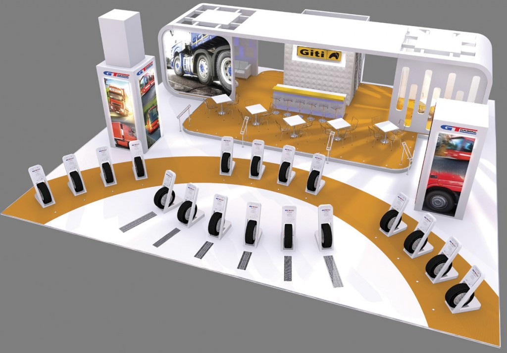 A diagram of Giti Tire's no stand it will bring to the CV Show