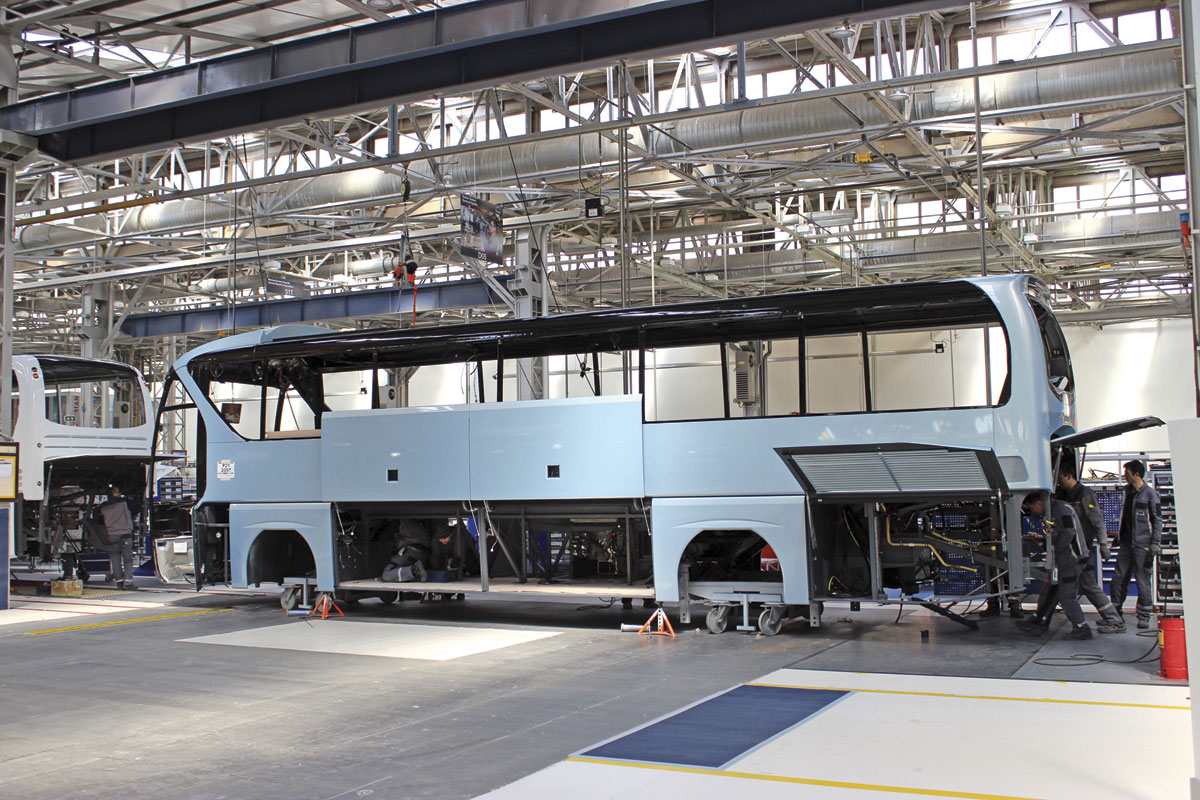 A right hand drive Tourliner on the mechanical assembly line