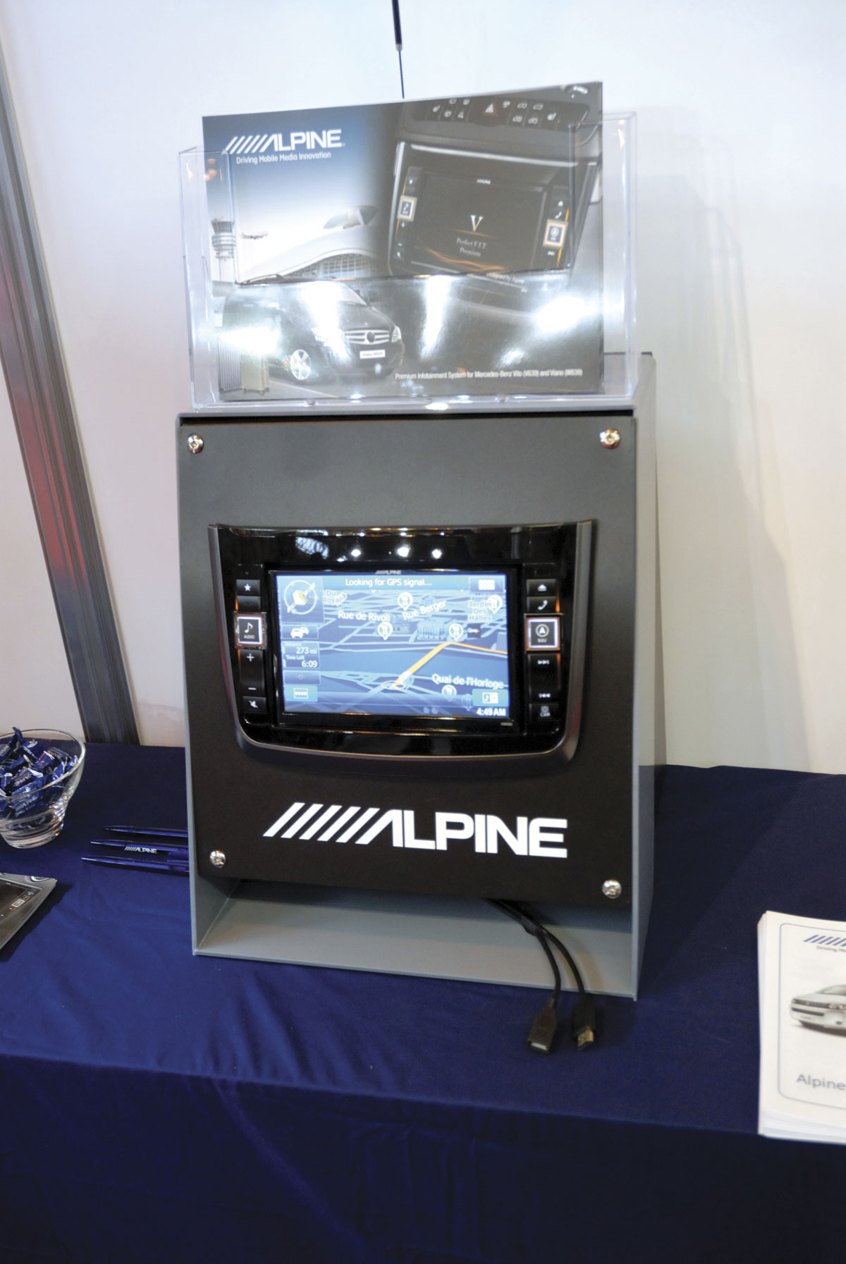 Alpine was showing a dashboard mounted media unit ideal for use on Mercedes-Benzs