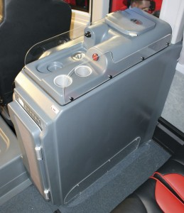 Andrews specified this servery unit ahead of the first offside seat row, to the rear of the driver