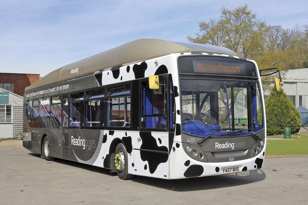 Best Impressions have designed a Friesen cow inspired wrap for the Scania-ADL gas bus