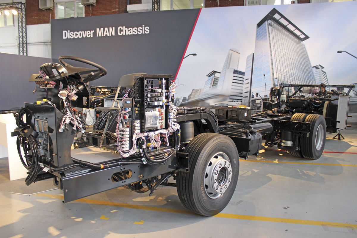 The MAN chassis range includes the Lion's City Coach CO19.360 with D20 10.5-litre engine
