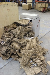 Cardboard is cycled to create packing material