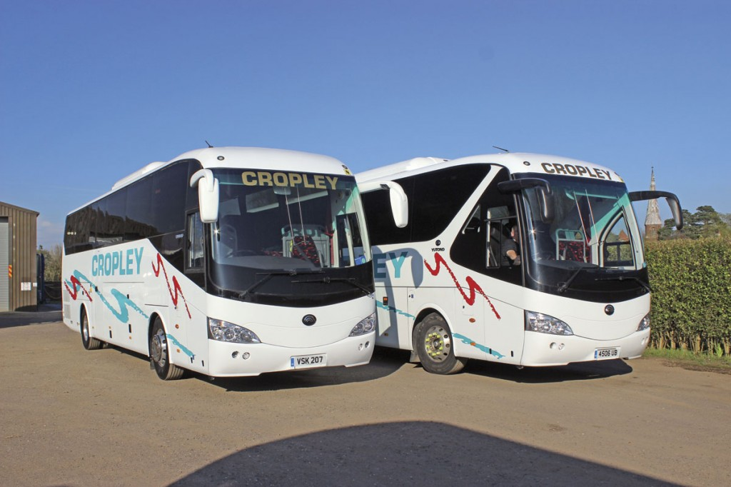 Cropley's new Yutong TC12 alongside the first Euro5 TC12. The appearance is distinctly different