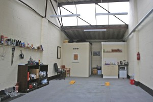 Inside the garage area of the new unit in Brandon