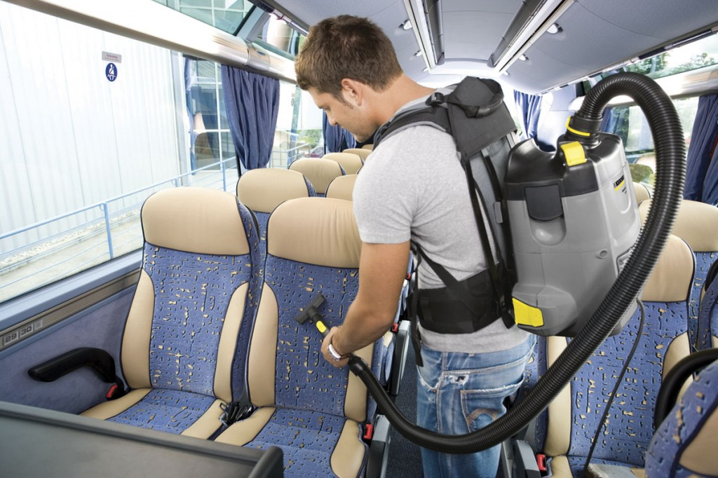 Keeping the interior of a vehicle clean leads to a good image too. Here we see a Karcher backpack vacuum cleaner in use