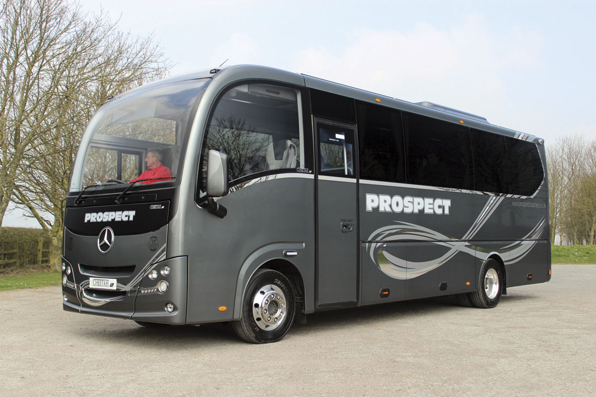 Pictured at the top of Staxton Hill, Prospect Coaches' Cheetah XL