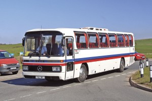 Richard Webb of Webbs Coaches drove a 1983 Mercedes-Benz O-303 integral coach restored in the colours of Wahl Coaches