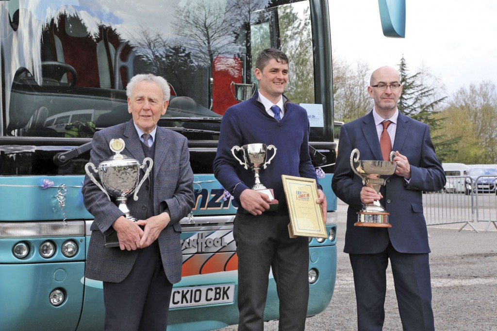 The Coach Driver of the Year was Darren Stanford of Kenzies Coaches (centre) seen here flanked by Cyril Kenzie, himself a former double winner, and Kevin Rooney, Traffic commissioner for North East England