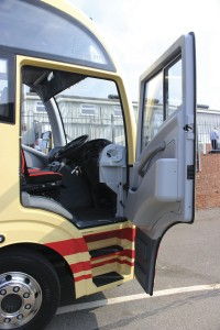 The driver's door. Plaxton will be amending the handrail provision
