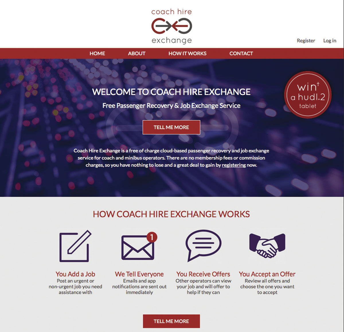The home page of Coach Hire Exchange