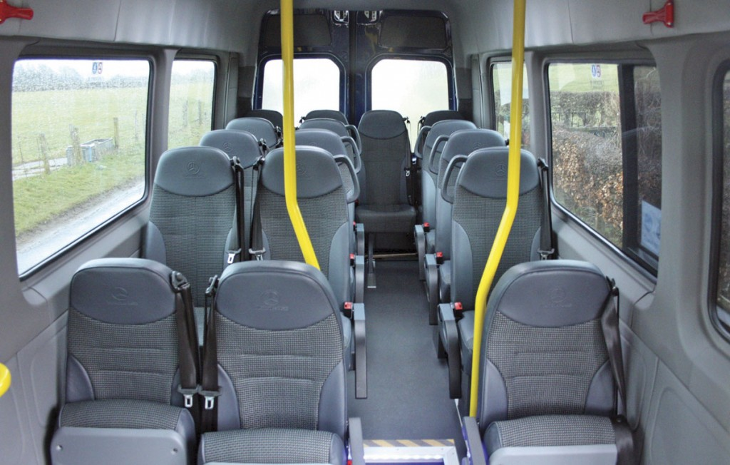 The interior is fitted with 13 Brusa seats in the raised rear area and three tip ups in the low floor area