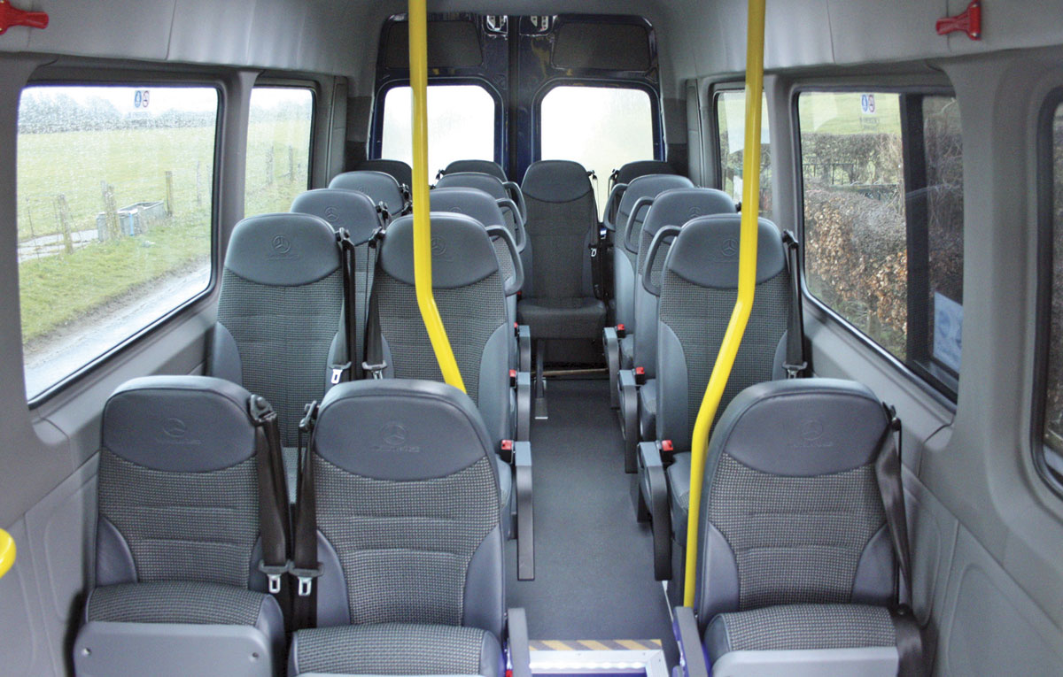 The interior is fitted with 13 Brusa seats in the raised rear area and three tip ups