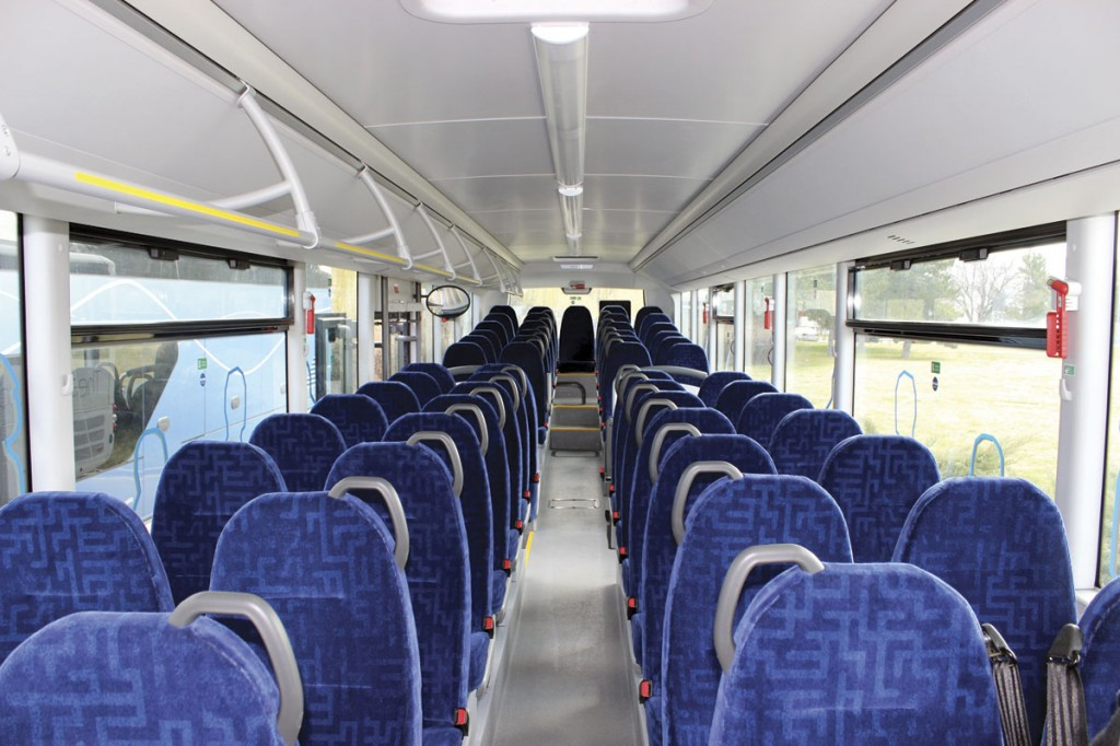 The interior of the 13.m Lion's Intercity showing the simplified rack on one side only option. It accommodates one more row of seats than the 12.3m version